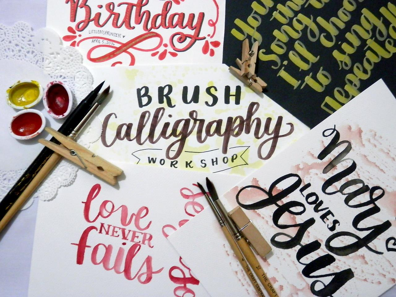 Brush calligraphy with littlemsprinter manila for kids